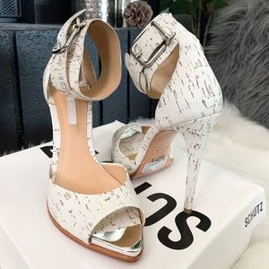 SCHUTZ: Peep-Toe Ankle Strap Sandals